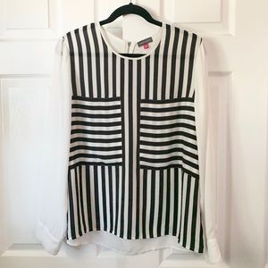 Vince Camuto women's blouse L striped black white